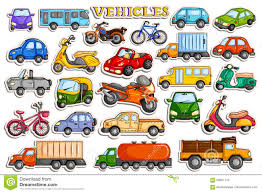 different means of transportation vehicle in sticker style stock