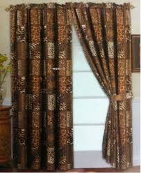 amazon com 4 piece curtain set 2 jungle safari brown giraffe amazon com 4 piece curtain set 2 jungle safari brown giraffe zebra panels 2 tie backs home kitchen