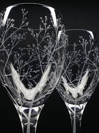 wedding gift glasses two 11 5 oz wine glasses branches leaves engraved