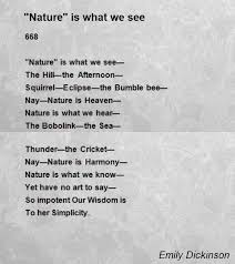 nature is what we see poem by emily dickinson poem