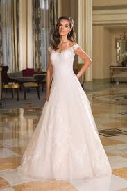 Lace Wedding Dresses Style 8854 Lace Portrait Neckline And Tulle Skirt Ball Gown