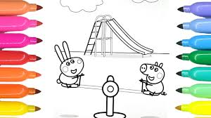 coloring for kids peppa pig and rebecca rabbit coloring pages