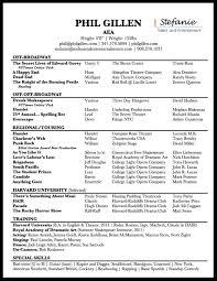 theatre resume musical theatre resume phil gillen