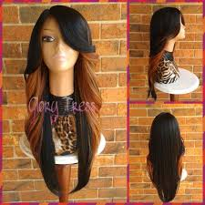 black hair swoop bang on sale long curly feathered flip lace front wig