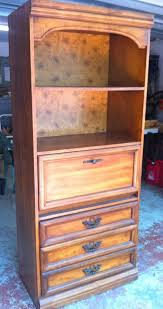 Solid Wood Bookcases With Glass Doors Furniture Vintage Solid Wood Bookcase With Drawers And Metal