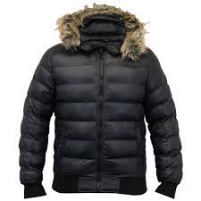 mens short parka jacket brave soul coat hooded fur padded er