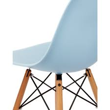 eames style dsw molded light blue plastic dining shell chair with