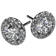 store stud earrings diamond halo stud earring designer jewelry store