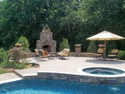 outdoor decks with round fences and fireplaces creative