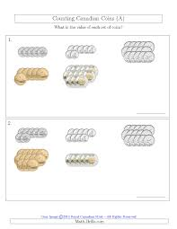 Coin Worksheets Counting Canadian Coins Sorted Version A
