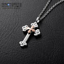 rose gold silver necklace images Blue sweet couple necklaces gold silver double cross necklace jpg