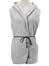 women casual fleece sleeveless hooded sweater vest with belt at