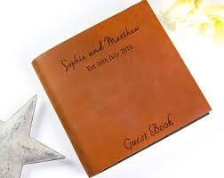 personalized leather guest book leather guest book etsy