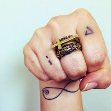 wrist tattoo of a infinity and two finger tattoos of a