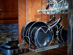 Kitchen Pan Storage Ideas by How To Store Cookware Knives And Kitchen Gadgets Hgtv