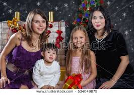 Interacial Lesbians - unconventional family stock images royalty free images vectors