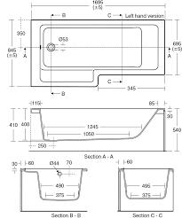product details e2595 cube 170cm shower bath left hand ideal