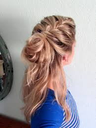 howtododoughnut plait in hair how to half up french braid messy bun youtube