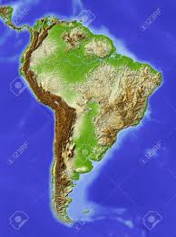 Azimuthal Map South America Shaded Relief Map Colored According To Elevation