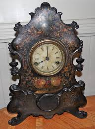 Mantel Clocks Antique Antique Bradley U0026 Hubbard Mantel Clock Iron Tole Painted 1859