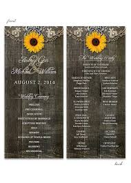sunflower wedding programs rustic sunflower with doily wedding program lot paperie