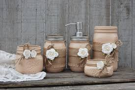 Bathroom Accessories Shabby Chic by Shabby Chic Mason Jar Bathroom Set Hand Painted In Coffee Brown