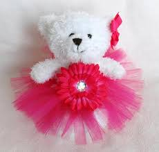 flower girl teddy gift princess fuchsia tutu teddy lilblackdogcrafts