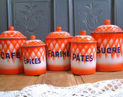 enamel kitchen canisters canister etsy