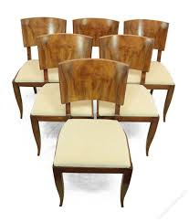 Walnut Dining Room Chairs Dining Room Large Wooden Art Deco Style Dining Table Set 2