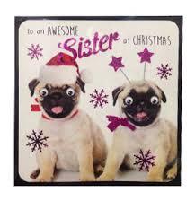 pug sister christmas card i love pugs
