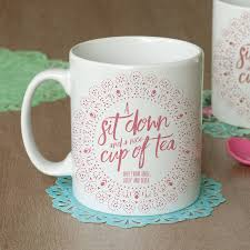 a sit down and a nice cup of tea u0027 personalised cushion by the