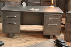 bureau m騁allique industriel bureau en mtal desk writing desk in sonoma oak and gunmetal gray
