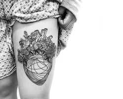 heart and flowers tattoo tattoo flower heart line work leg tattoo tattoo for women