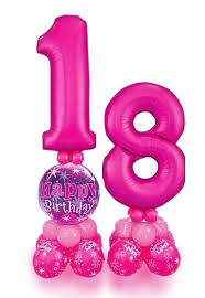 balloons for 18th birthday pink happy 18th birthday balloon stand send birthday gifts to