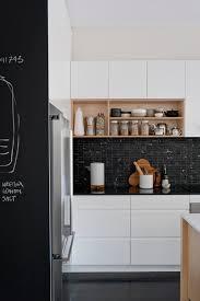 bodum coffee grinder in kitchen scandinavian with open shelves