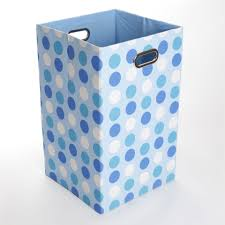 giggle dots sky dots canvas folding laundry basket