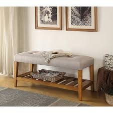 Oak Bedroom Bench Acme Furniture Charla Light Gray And Oak Storage Bench 96680 The