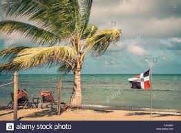 Dominican Republic Flag Dominican Republic Flag At The Beach And Caribbean Sea In The