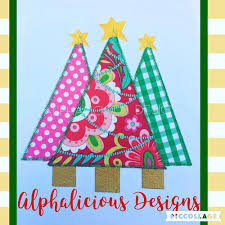 woodlands tree trio applique bean alphalicious designs