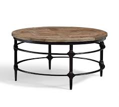outdoor wood coffee table parquet reclaimed wood round coffee table pottery barn regarding