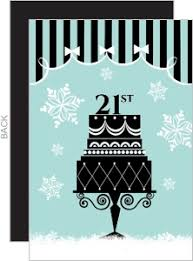 light blue and black 21st holiday birthday party invite 21st