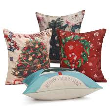 christmas tree cotton linen cushion cover square throw pillow case