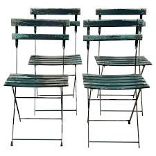 Folding Bistro Chairs Set Of Four Vintage Bistro Folding Chairs At 1stdibs