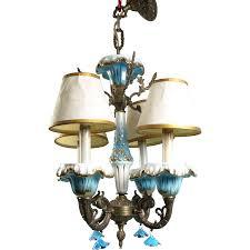 Vintage Porcelain Light Fixtures Antique Vintage Porcelain Chandelier Italian Style Blue Flower