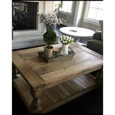 Baluster Coffee Table Large Square Rustic Baluster Wide Plank Coffee Table Farmhou