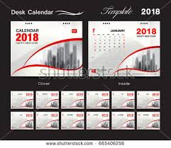 desk calendar 2018 template design red cover set of 12 months
