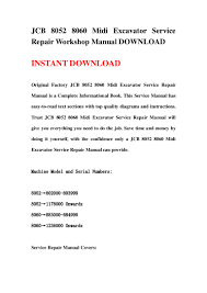 jcb 8052 8060 midi excavator service repair workshop manual