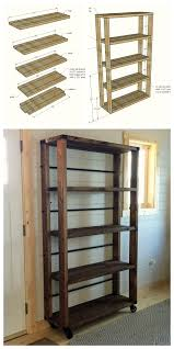 Free Standing Wooden Shelving Plans by Ana White Reclaimed Wood Rolling Shelf Diy Projects