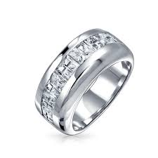 silver wedding bands sterling silver wedding band invisible cut cz unisex mens ring