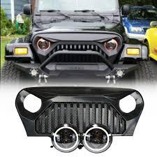 jeep black headlights jeep tj led projector headlights halo u0026 vader grille combo pack